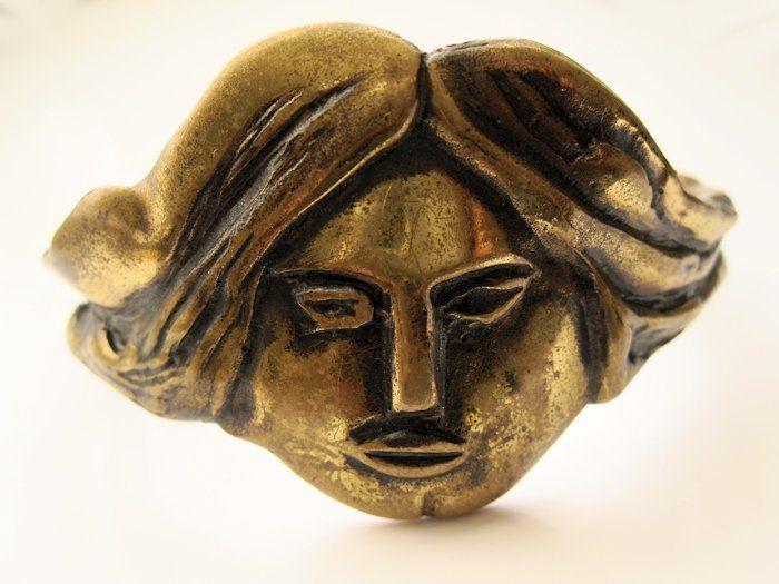 Eila Minkkinen ~Bronze Modernist Face Vintage #Bangle.   RubyLane.com