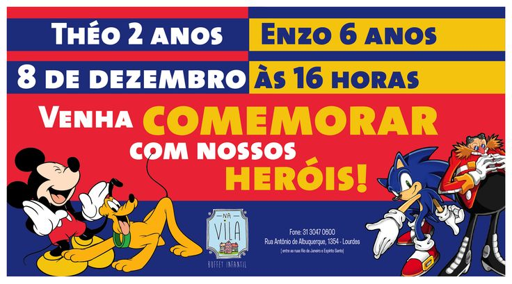 Convite Mickey & Sonic