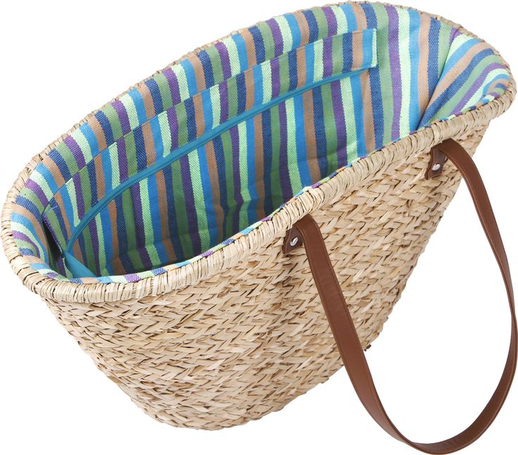 Market Baskets -   LARDER's classic French-style Market Baskets are perfect for carrying your fresh produce grocery shopping, or for lazy days spent at the beach. They are beautifully lined with a vibrant design, and can be zipped to keep your contents safe. They come with a double pocket for valuables. They have simple leather shoulder handles, that can be carried in the hand or worn over your shoulder. It comes in Large and Small sizes.  larder.com.au