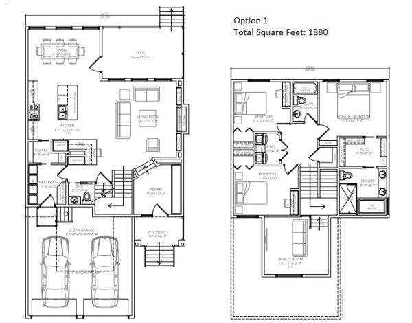 2 Storey Floor Plan Open Concept 3 Bedrooms 2 5 Bath