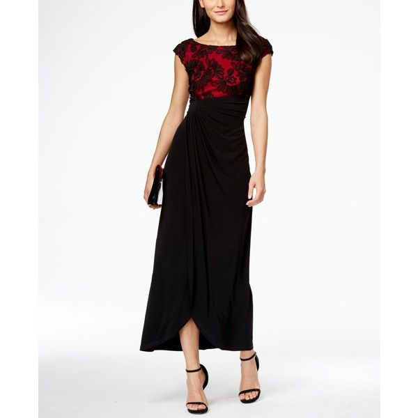 Connected Petite Soutache Faux-Wrap Gown ($89) ❤ liked on Polyvore featuring dresses, gowns, white gown, petite evening gowns, formal evening gowns, formal evening dresses and white evening dresses