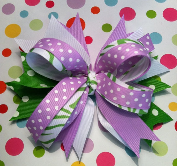 Girls Stacked Boutique Hair Bow with Spikes by BetterThanBows, $7.99