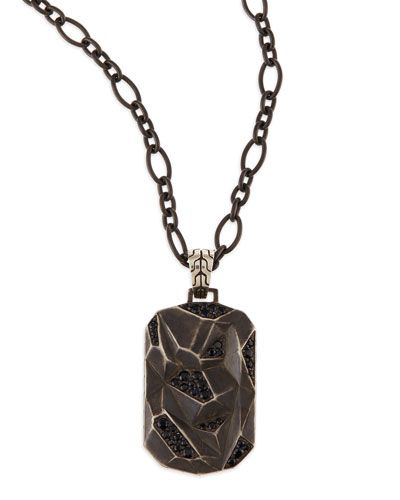 N2JYB John Hardy Men's Classic Chain Lava Dog Tag Chain Necklace, Silver