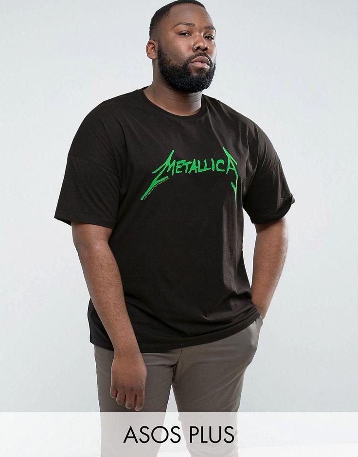 ASOS PLUS Metallica Oversized Band T-Shirt With Fluro Logo Print - Bla