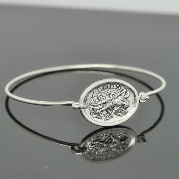 St Michael Bangle, St Michael Jewelry, St Michael Bracelet, Sterling Silver Bangle, Christian Jewelry, Catholic Jewelry by JubileJewel on Etsy