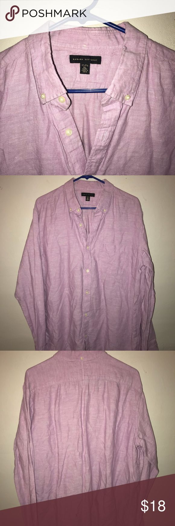 Light Pink Men's Dress Shirt Light pink is such a dashing color on any man! Banana Republic, high quality. Offering low price because of one small hole on the low back. Banana Republic Shirts Dress Shirts