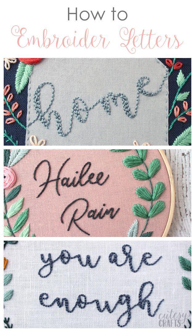 Buchstaben von Hand sticken – Schritt-für-Schritt-Anleitungen und kostenlose Anleitungen …   – Craft Embroidery