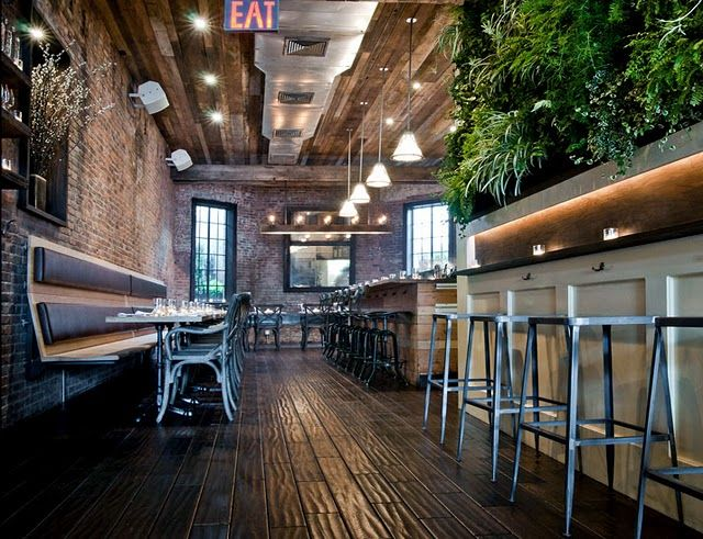 Rustic Restaurant Design.  Love the bar/counter.  This is how I want my drug store counter to look. LOVE the brick walls!