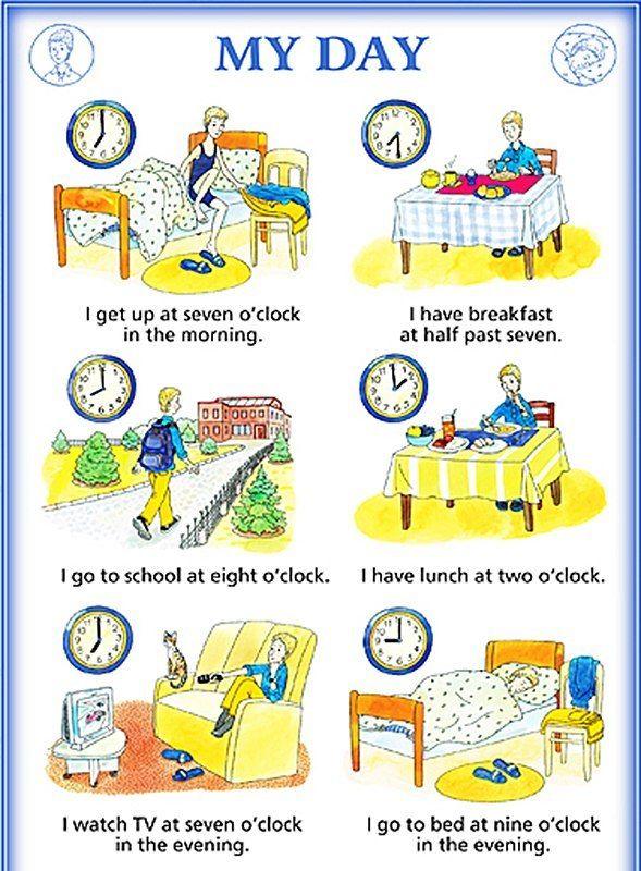 Расписание дня на английском картинки