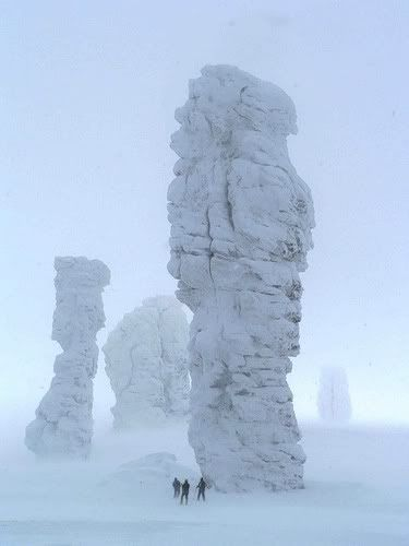 Seven rock formations in Russia called Man-Pupu-Nyor (little mountain of the gods).  The seven pillars range from 30 to 42 meters tall.  The remote location of the pillars makes tourism difficult, but you can get there by helicopter or snowmobile if you are determined.