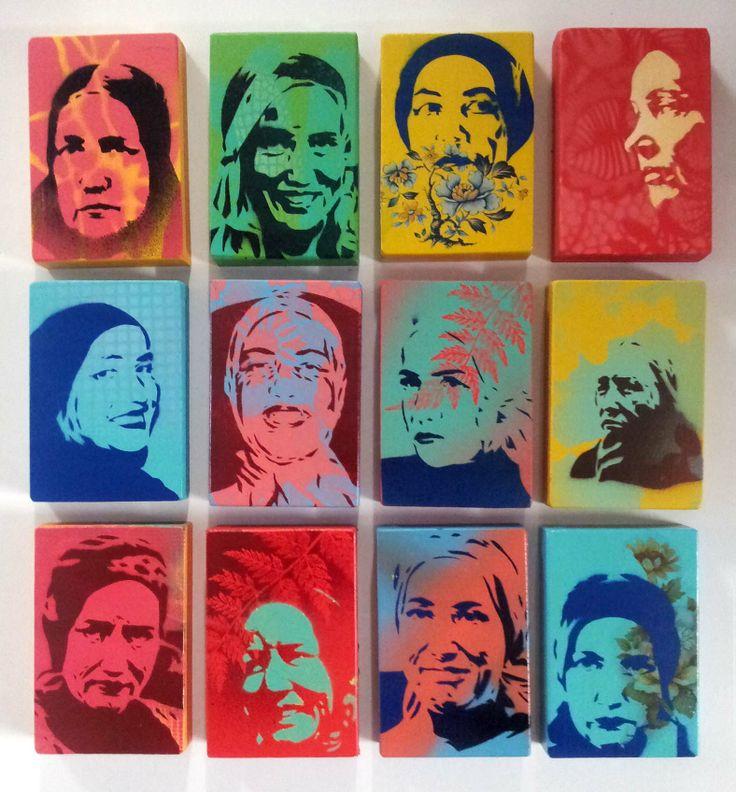 A Debris of Divas, Hand Cut Stencil Portraits of Little Eddie Beale - Alex Hamilton