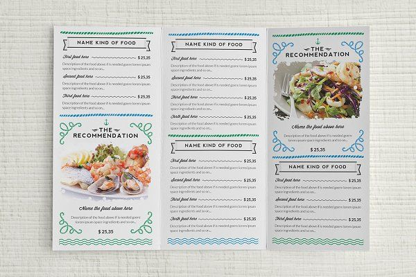 Seafood Menu Template by Luuqas Design on @creativemarket