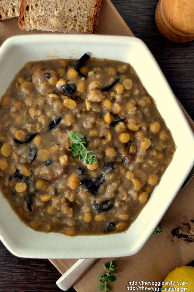 Σούπα με ρεβίθια, ρύζι, μαύρες τρομπέτες κ πορτσίνι