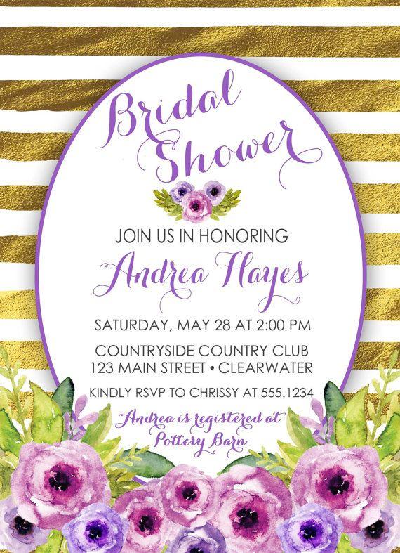 Purple Floral Bridal Shower Invitation Purple And Gold Bridal