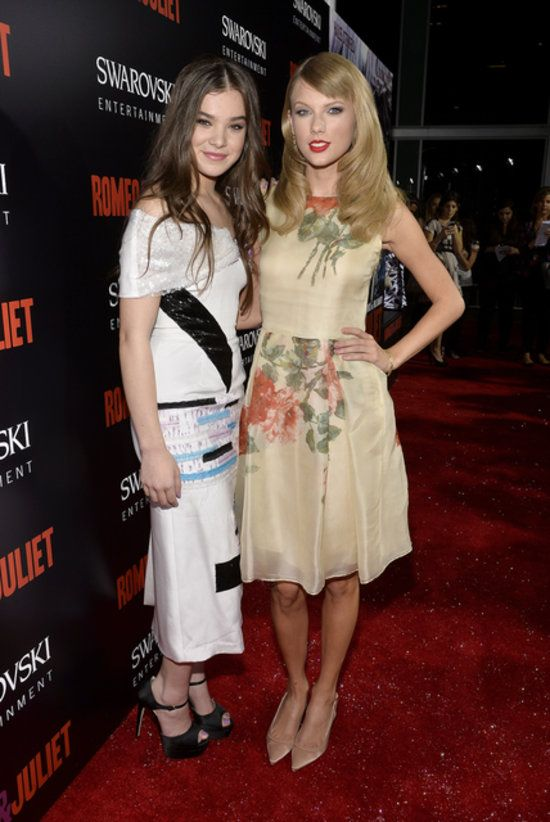 Taylor Swift gave her friend Hailee Steinfeld a big girlfriend boost when she made an appearance at the premiere of Romeo and Juliet in LA last night. Hailee, who plays Juliet in the film, met up with Taylor on the red carpet before moving into the premiere to chat with costar Bailee Madison. The ladies were joined at the bash by two handsome men — Douglas Booth, who plays Romeo in the flick, and Ed Westwick, who plays Tybalt.