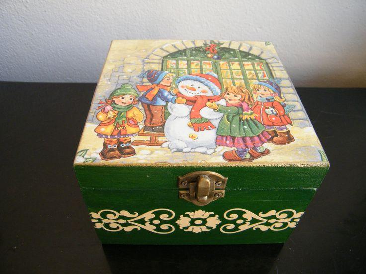 SALE - 20 % OFF, Christmas eve box, large wooden xmas box,handmade decorated box, xmas gift,winter christmas decor, storage box, OOAK gift by KristanArt on Etsy