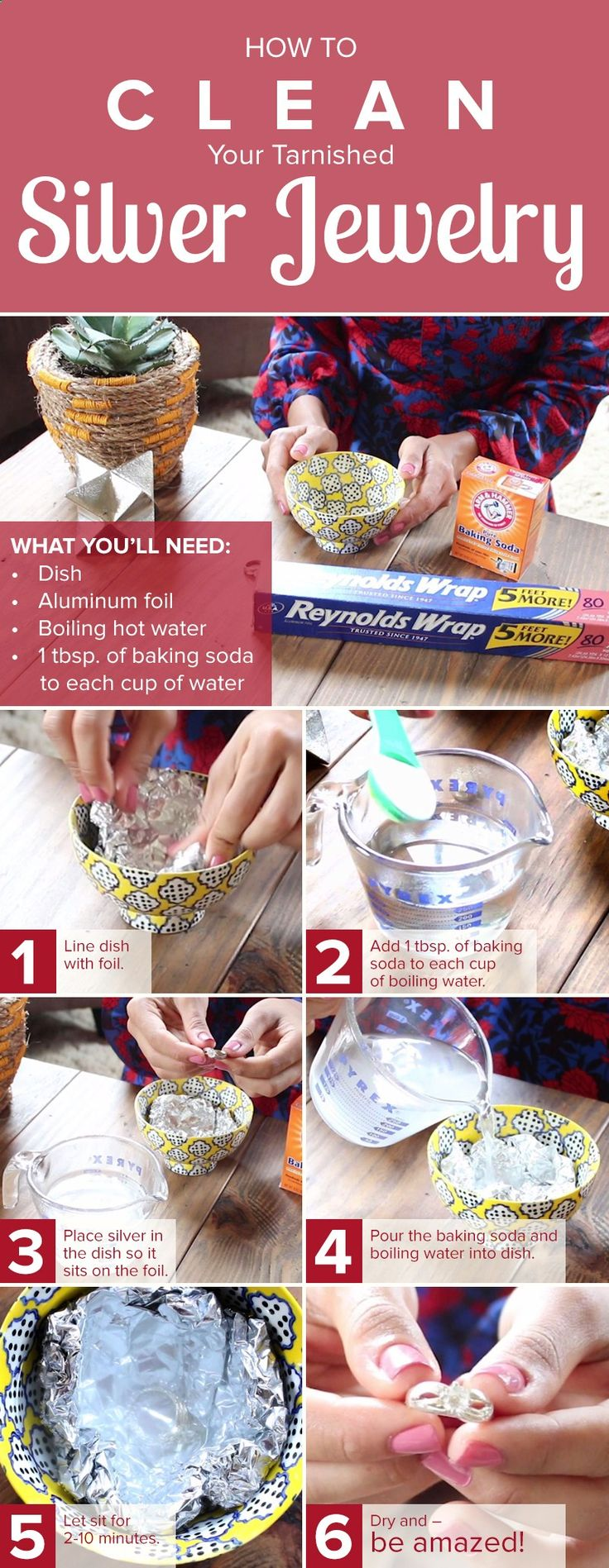 Make a homemade DIY jewelry cleaner to remove tarnish on your favorite silver necklaces, bracelets, earrings and rings. All you need are baking soda and water.