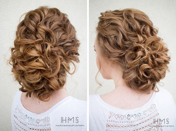 Curly Hair Up Styles: Soft Romantic Wedding Updo By Hair And Makeup By Steph