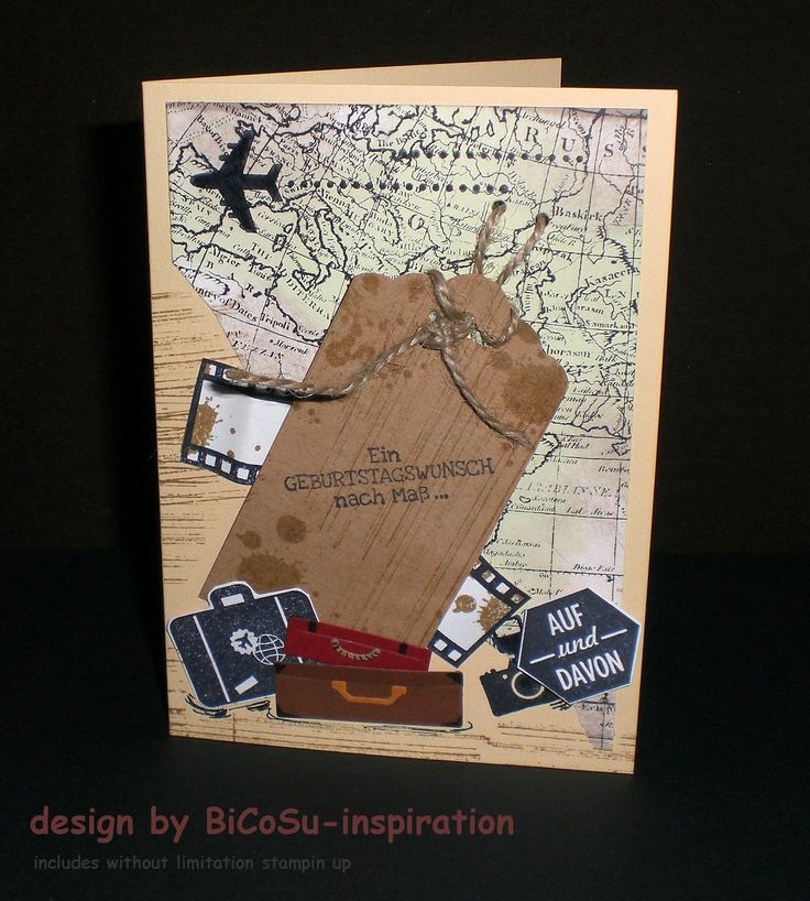 Geburtstagskarte - Gute Reise - Birthday cards have a good trip - Bon voyage! with stampin up --) background world map stamp, around the world stamp, filmstrip stamp, gorgeours grunge stamp