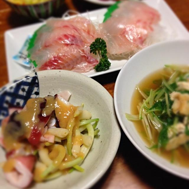 今年初ひろっこ! - 6件のもぐもぐ - タコとひろっこ酢味噌あえ、水菜煮浸し、マゾイ刺身、コールスロー by raku0dar