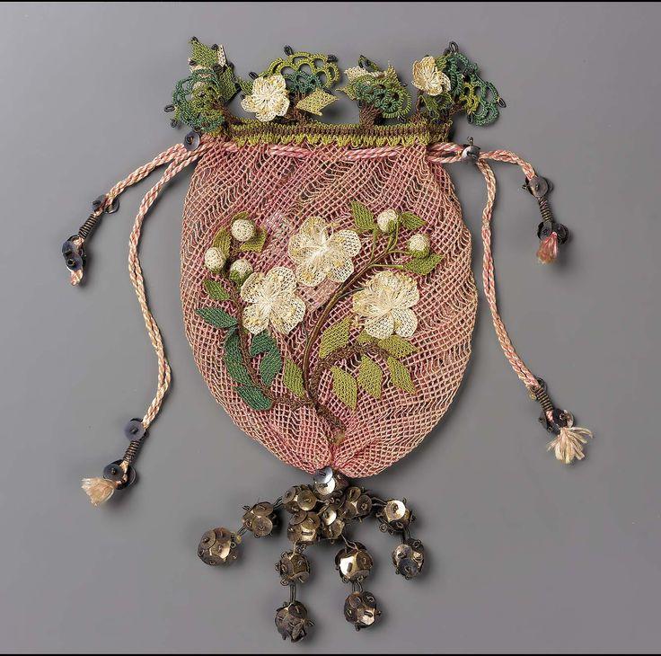 Drawstring bag, pink diagonal netted ground, white bibila work flowers.