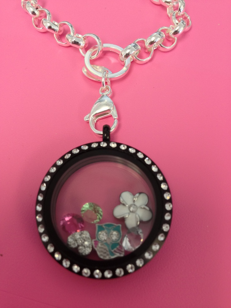 Origami Owl Large Silver with Crystals Matte Black Locket Owl Charm, Crystal Heart, Pink and Green  www.buycharms.origamiowl.com