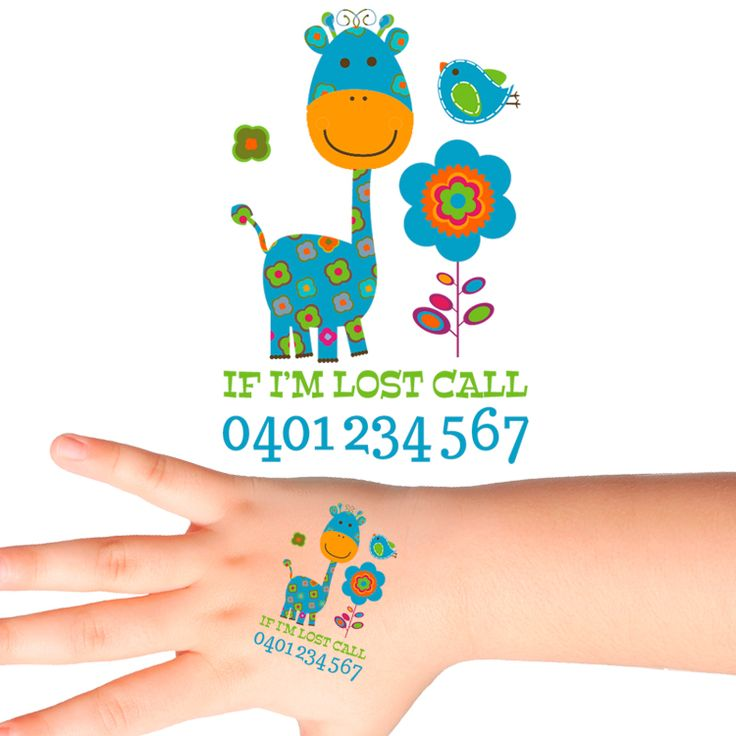 Giraffe Personalised Safety Tattoos #504 (16 pack)