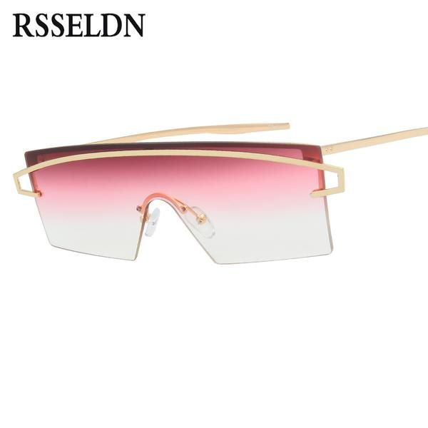 #SUNGLASSES #NEW RSSELDN Newest Rectangle Sunglasses Women Fashion Oversize Rimless Sun glasses For Women Gradient Lens UV400 Shades Male…