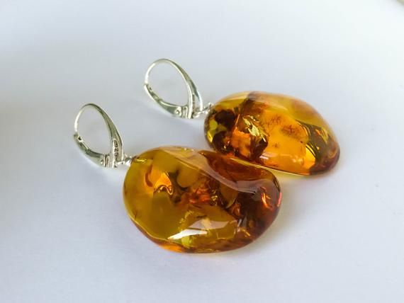 Resin Orange Earring with Silver Findings