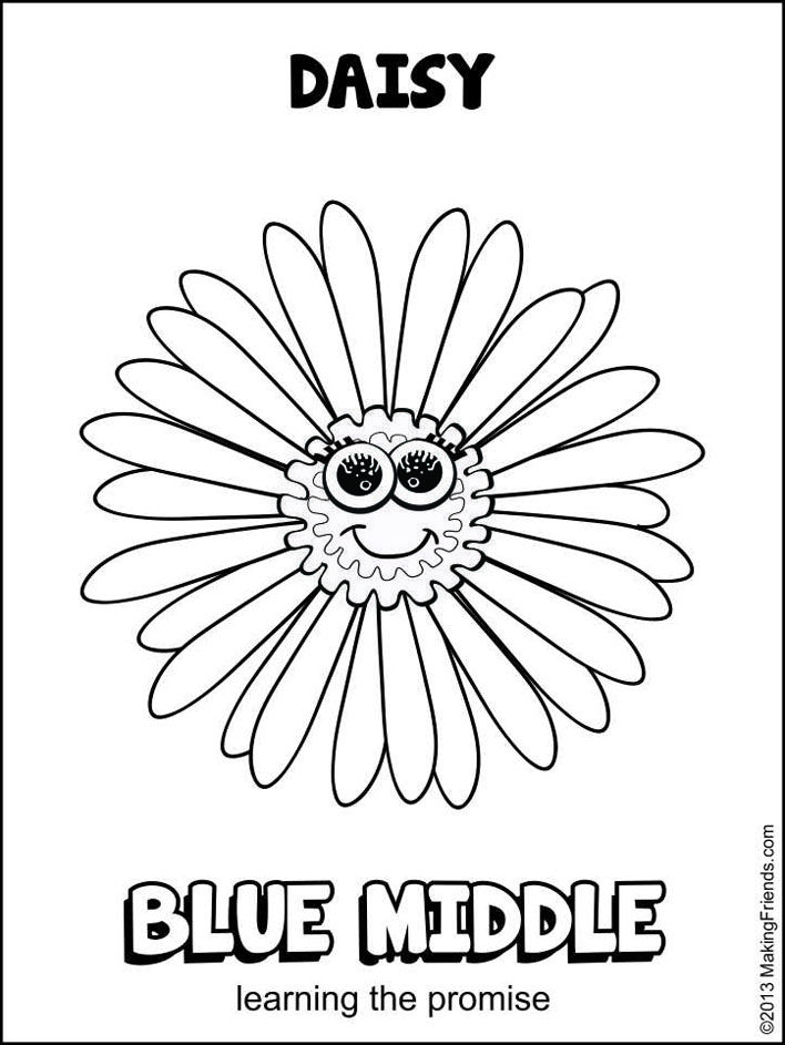 Daisy Girl Scout Blue Promise Center. After learning the promise give this coloring page to the girls at your meeting. Print more on MakingFriends.com