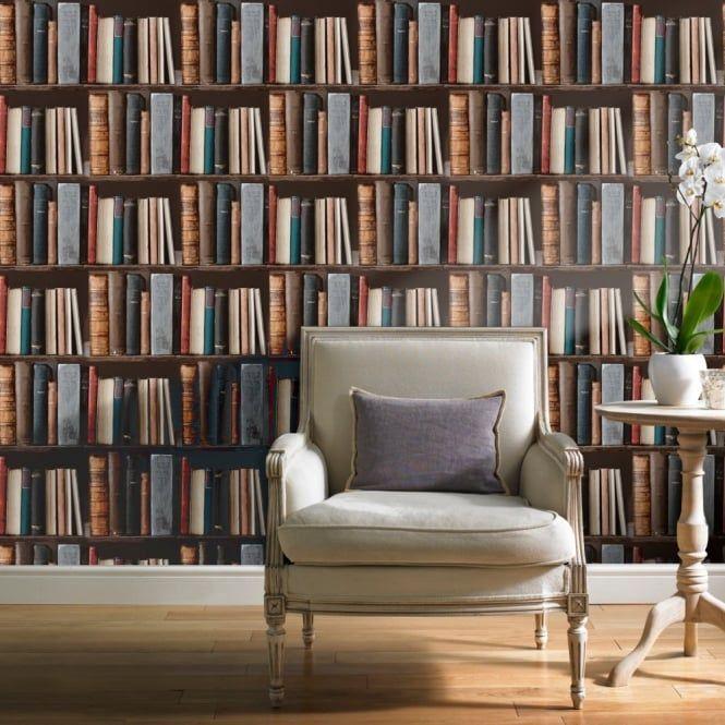 Grandeco Library Realistic Book Shelf Mural Wallpaper POB-33-01-6