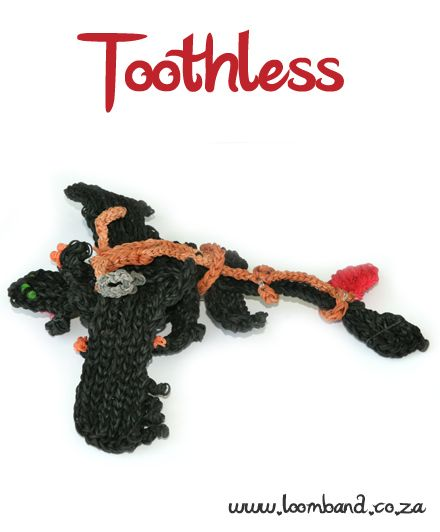 Toothless Night fury adult loom band tutorial, http://loomband.co.za/toothless-night-fury-adult-loom-band-tutorial/