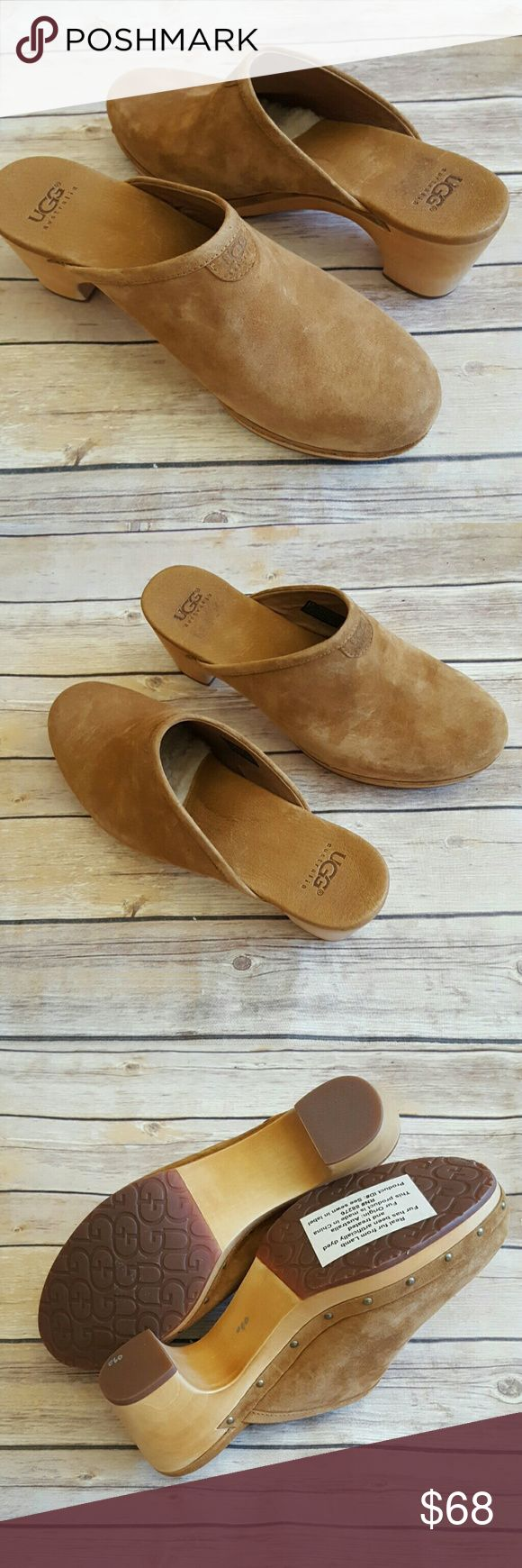 """Ugg W Abbie 5772 Size 11 Shoes Tan Clog Mule Shoe Nearly new in box Ugg W Abbie Size 11 Mule Shoe.  These were a neighbors and have been tried on, worn around the house and sat back in the closet until she went to move and decided it was time to part with them.    Measure 11"""" from toe to heel.  If you have any questions please feel free to ask. UGG Shoes Mules & Clogs"""