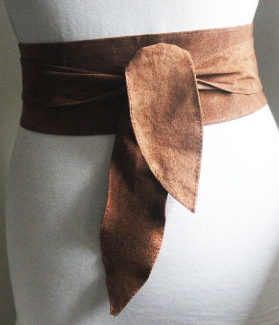 Brown Suede Tulip Tie Belt Brown Suede Obi Belt by LoveYaaYaa