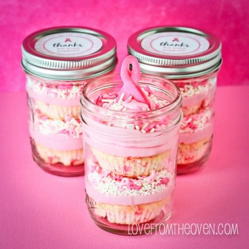 Breast Cancer Awareness.  Pink cupcakes in a jar.