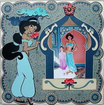 Disney Jasmine scrapbook page with Cricut (LH)