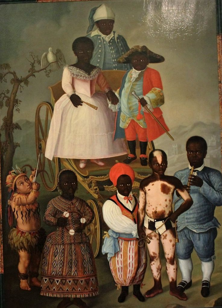 Les nains esclaves de Marie 1ère du Portugal. La mascarade nuptiale. Musée du Nouveau Monde. La Rochelle. The Nuptial Masquerade of José Conrado Roza (1788) is the most amazing and the strangest paintings of the Museum of the New World. It is also the most revealing of a society in arrogant and racist morals.