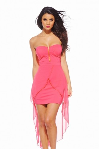 Strapless Bodycon Drop Back Coral Dress - AX Paris USA-Fashion Dresses, Black Dresses, Evening Dresses and Party Dresses