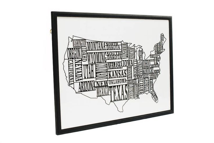 America USA Typography Paper Cut Framed Map