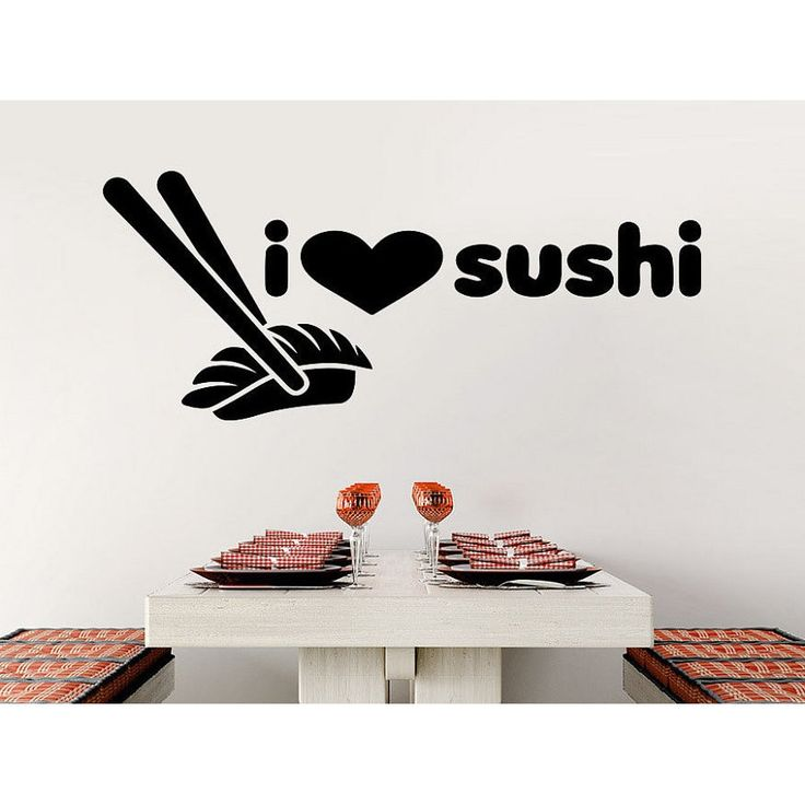 Japanese Kitchen Wall Decals I Love Sushi Menu Decal Chopsticks Kitchen Design Cafe Vinyl Sticker Decal size 22x35 Color