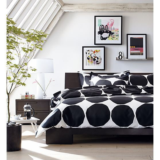 marimekko kivet (large black dots) duvet via crate & barrel