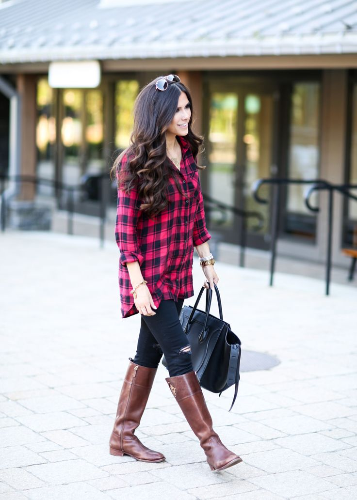 SEPTEMBER 24, 2015 Fall Must-Have.. Oversized Plaid - PLAID: BP (size down!- only $44) (edit- I ordered a M but wish I had S) | DENIM: Mother (similar under $100) | BOOTS: Tory Burch | BAG: Celine (similar style) | SUNGLASSES: Ray-Ban | NECKLACE: Love Always (3XL) | RING: BaubleBar | WATCH: old (just bought this similar) | BRACELETS: David Yurman (& here) | LIPS: Stripdown + Madere