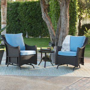 Outdoor Belham Living Lindau All Weather Wicker Glider Chairs With FREE  Side Table   Dark Brown