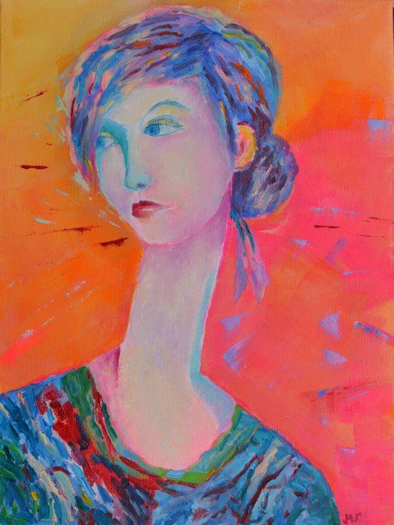 Girlfriend modern portrait canvas print 30 x 40 by TanabeStudio