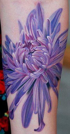 Chrysanthemum flower tattoo by Phil Garcia.