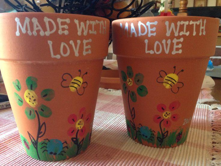 Spring Fingerprint Art- flower pots Easter, mothers day, teacher appreciation,