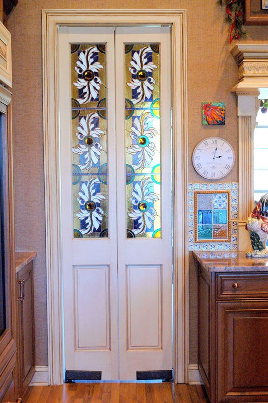 Stained Glass Doors Between Kitchen And Mud Laundry Room