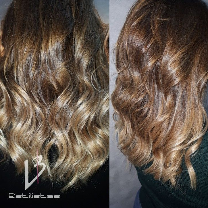 Degradados con Estilo Natural. Higthlights caramel. Wavy.
