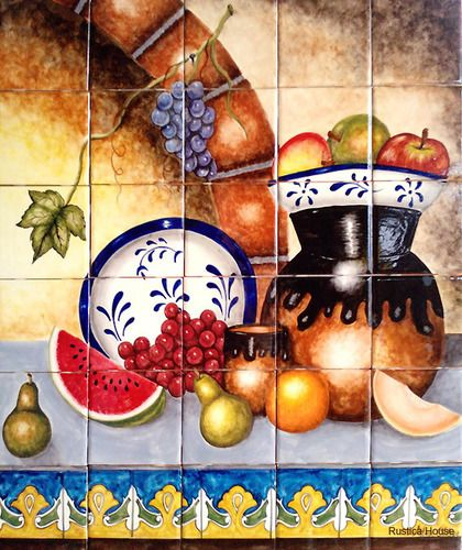 """A rustic tile mural looks pretty on a kitchen wall backsplash, bathroom wall or table-top. Traditional Cuisine mural sku 19007 is available in custom made dimensions. rustic tiles can be also installed in swimming pools, fountains and outside of the buildings. Tile Mural """"Traditional Cuisine"""" by Rustica House. #myRustica"""