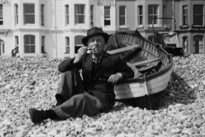 Dr Oliver Horsley Gotch on the beach at Worthing, c1950
